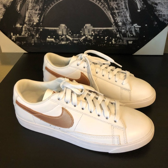 new products cecd6 62450 Nike Blazer Low Rose Gold Swoosh Tennis Shoes. M5bba6088035cf1e779b84c86